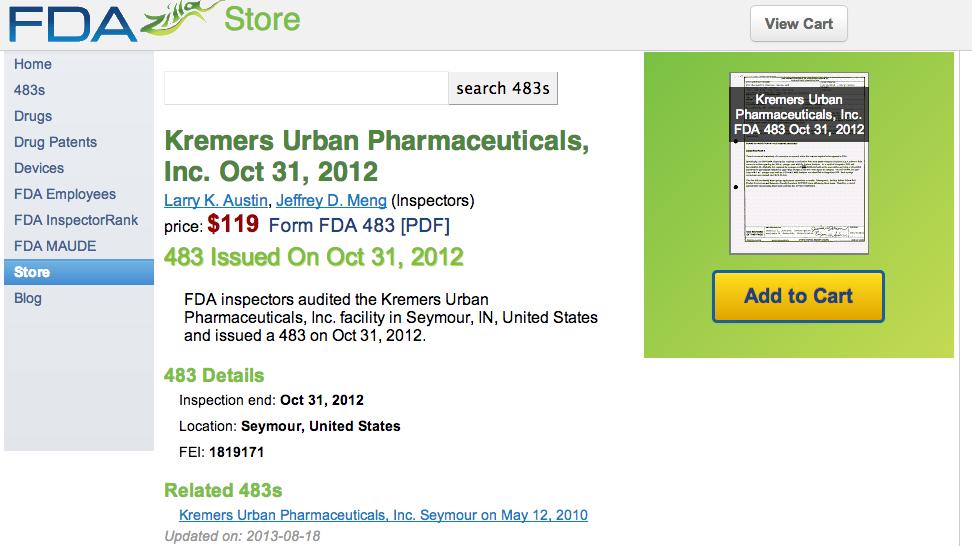 FDA 483 purchase PDF