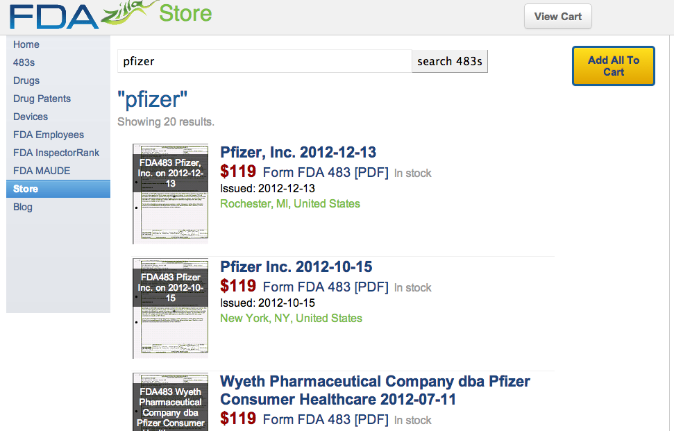 pfizer FDA 483s