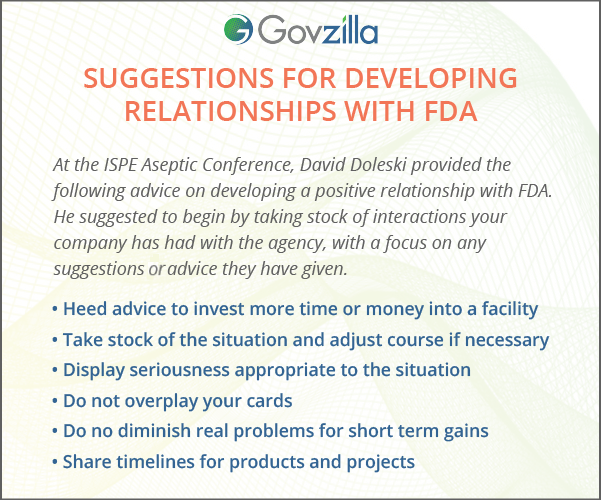 Suggestions for Developing Relationships with FDA